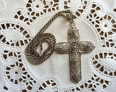 Vintage 1970s Van Lou Sterling Silver Filigree Cross Large Pendant & Chain