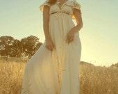 SOLD... Reserved... The Source Dress // 70s Empire Waist Flutter Sleeve Grecian Goddess Gown