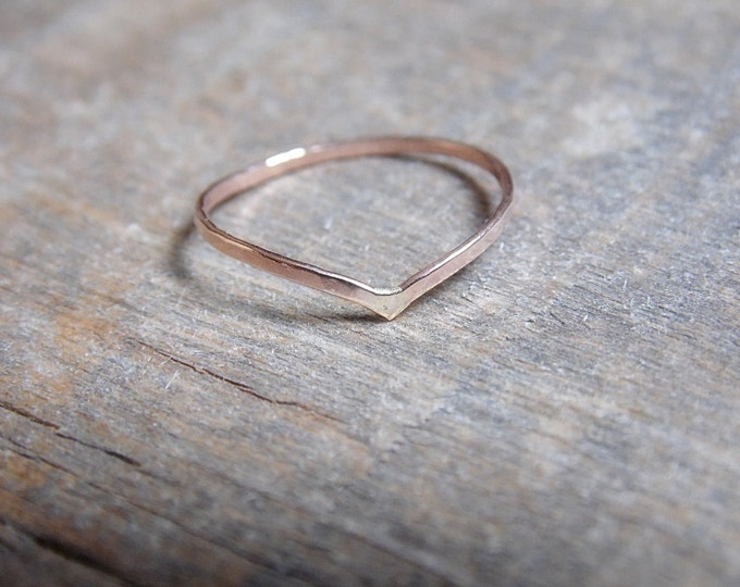 Chevron Ring 14k Rose Gold Fill