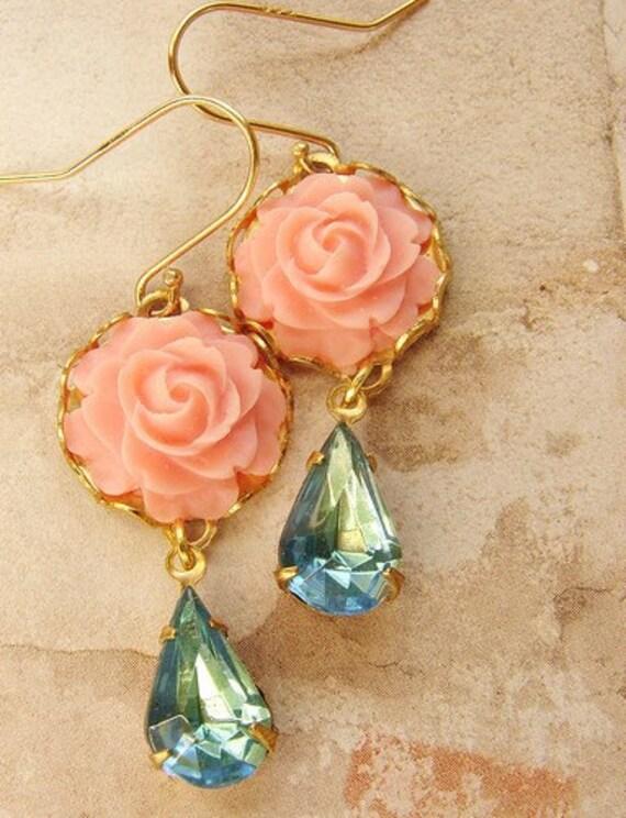Coral pink aqua stone drop earrings, drop earrings, Bridesmaid jewelry, vintage blush rhinestone dangle earrings, bridal earrings