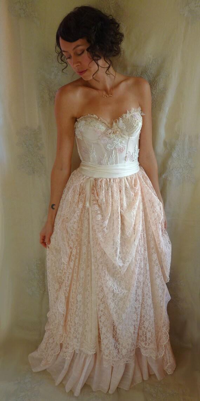 Pearl bustier gown wedding dress boho whimsical fairy for Woodland fairy wedding dress