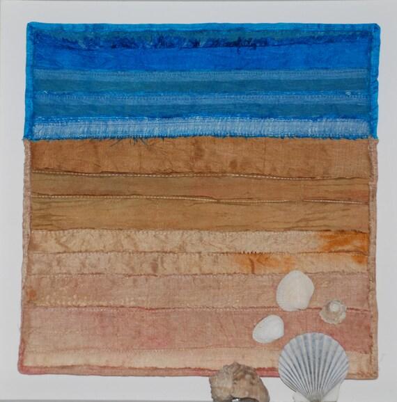fiber art quilted beach scene with shells framed wall hanging. Black Bedroom Furniture Sets. Home Design Ideas