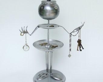 Jewelry organizer  tiered server- art sculpture - sustainable art robot  ooak found object kitchen robot