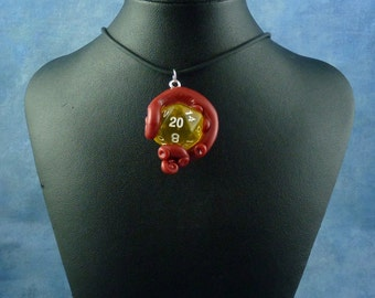 Burgundy and Yellow Sanity Check Necklace - Tentacle Wrapped D20 Pendant