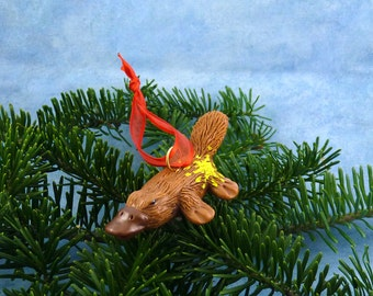 Xmas Platypus Ornament with Starburst Tush - Handmade Christmas Decoration