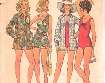 1970s Simplicity 6356  Misses Swimsuit Pattern 2 Style and Cover Up Pattern Womens Vintage Sewing Pattern Size 10 Bust 32 OR Size 16 Bust 38