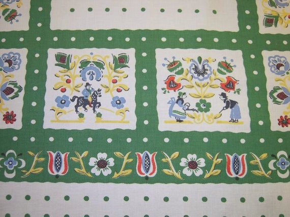 Vintage LEACOCK Tablecloth Tiny Gardeners & Polka Dots