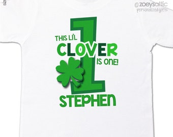 First birthday shirt li'l clover any age personalized birthday Tshirt or bodysuit - perfect for St. Patrick's Day birthdays