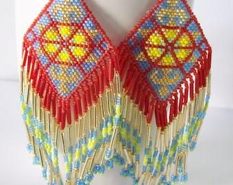Dangle Beadwork Earrings ,Native American Style Beadwork Earrings , Seed  Beaded Earrings , Handmade earrings