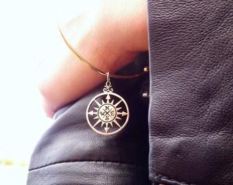 Compass bracelet, compass bangle, bangle bracelet, layering bracelet, stacking bracelet, expandable bracelet with compass charm
