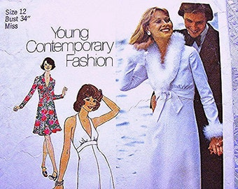 1970s Maxi Dress Pattern, Misses size 12 Bust 34 UNCUT Womens 70s Halter Dress Pattern with Jacket Sewing Pattern