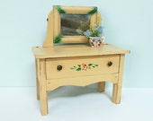 Vintage Child's Toy Doll Dresser Vanity with a Mirror, Drawer, Yellow Paint and a Red Rose Stencil