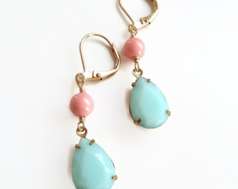 Mint Green and Coral Earrings - made with Swarovski Crystal - Peach and Mint