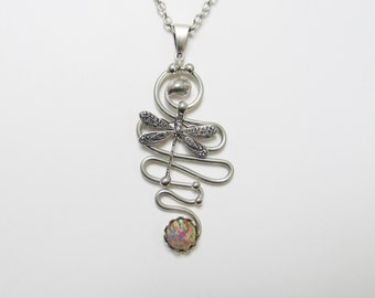Wirework Dragonfly Pendant Necklace, Vintage Glass Opal, Handmade Wirework Jewelry
