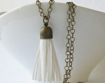 Tassel White Faux Leather Brass Tassel Necklace