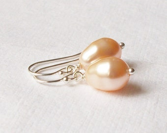 Peach Pearl Drop Earrings Wedding Jewelry Bridesmaid Gift, Gifts under 20