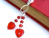 Two Hearts Pendant Necklace Ruby Red Hearts Sterling Silver Valentine Jewelry