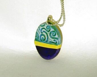Easter Egg Colorful Ceramic Oval Pendant