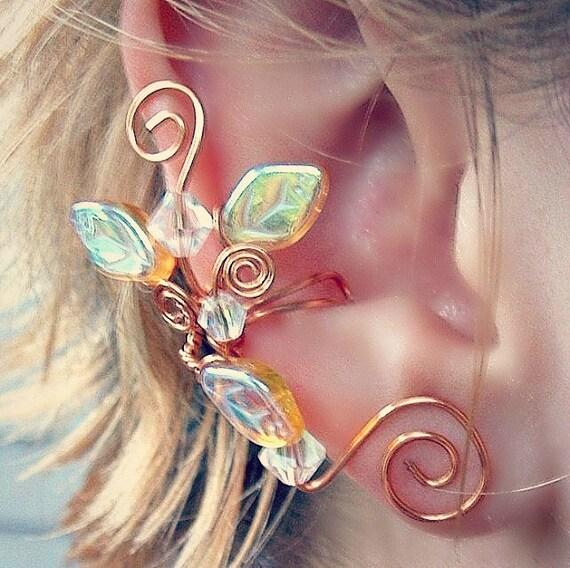Ear Cuff Lothlorien Crystal Elven Forest, Fantasy  Fairy Wedding Bridal Ear Cuff