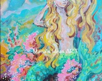 Mermaid art, Mermaid wall art, Mermaid print, under the sea, Mermaid Goddess, kids room wall art
