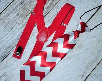 Baby/Toddler/Boys red Suspenders--red white chevron neck tie,Easter, Photo Prop, Kids suspenders Boys Neck tie