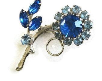 Light & Dark Blue Rhinestone Flower Brooch Vintage