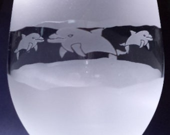 2 Dolphin 3Peat hand etched glass.