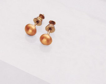 Small Stud Earring Copper Melted Bead Solid Metal Pierced Unisex
