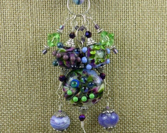 BirdDesigns Silk Ribbon and Lampwork Necklace - purples and greens - ooak - J528