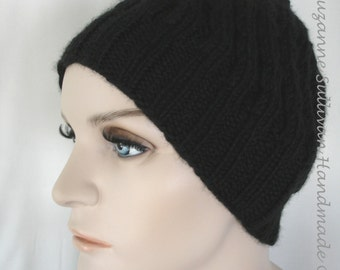 Black Hand Knitted Beanie, Extra Thick Knitted Beanie, Unisex Beanie