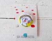 yellow daisy pin button brooch