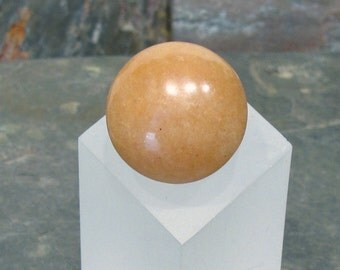 Wooden Shank Ring - Warm and Sunny Peach Aventurine Ring - Size 6 1/2 - R160