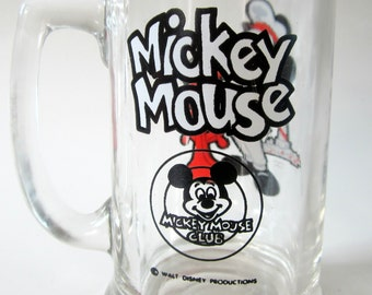 Mickey Mouse Club Glass Mug Disney Heavy Bottom Vintage Collectible Red Sailor