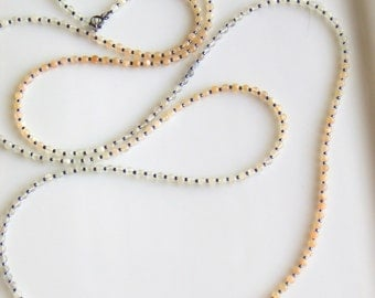 Four Feet Long Beaded Moonstone  Necklace, Fine Moonstones, Peach Gray and White Gemstone Ombre, Versatile Chain, Bohemian Layering Chain