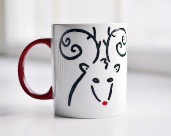 Christmas Mug | Reindeer Mug | Rudolph Mug | Christmas Present | Coffee Tea | Holiday Gift | Hand-painted Personalized | Kids Cup | Cute