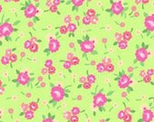 Pam Kitty Picnic Lime and Pink Flowers Cotton Fabric by Holly Holdermann for Lakehouse Dry Goods.