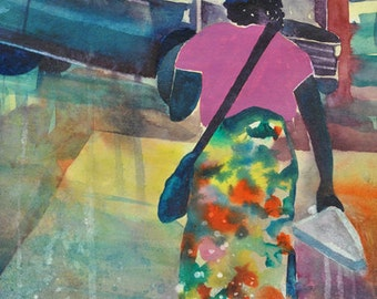 Leaving The Beautiful Watercolor Painting African American Art Contemporary Urban
