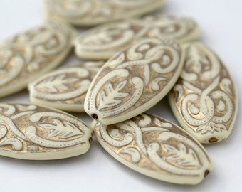 Ivory Gold Etched Acrylic Flat Oval Beads Carved Beads 39mm (4)