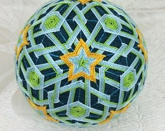 Marigolds on Teal fiber art temari for sale by Barbara B. Suess