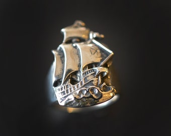 Pirate Ship Ring in Sterling Silver