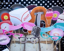 50s Printable PHOTO BOOTH PROPS microphone, milk shake, 45 records - Editable Text >> Instant Download <<