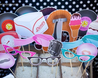 50s Printable PHOTO BOOTH PROPS microphone, milk shake, 45 records - Editable Text >> Instant Download | Paper and Cake
