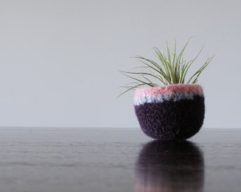 soft jewelry dish - scratch free ring dish - organizer - air plant planter - blackberry purple, tweed sky blue, and pale pink -felted wool