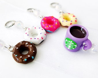 The Doughnut Shop - Five Handmade Stitch Markers - Fits Up To 4.5mm (8 US) - Limited Edition
