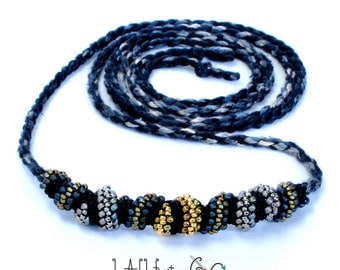 Twisty Bits Necklace Gold Silver Black Gray