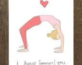 I Heart (Opener) You, Yoga-Inspired Valentine's Day Card (Blank Inside)