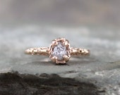Raw Diamond Engagement Ring -14K Rose Gold Filigree Ring - Antique Styled Engagement Ring - April Birthstone - Rough Conflict Free Diamond