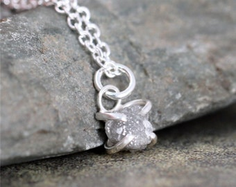Diamond Pendant - Raw 1 carat Diamond Necklace - Uncut Rough Diamond - Sterling Silver - April Birthstone - Jewelery Made in Canada -