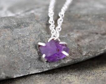 Amethyst Necklace - Raw Amethyst Pendant - Sterling Silver - February Birthstone - Raw Purple Gemstone Jewellery - Made in Canada