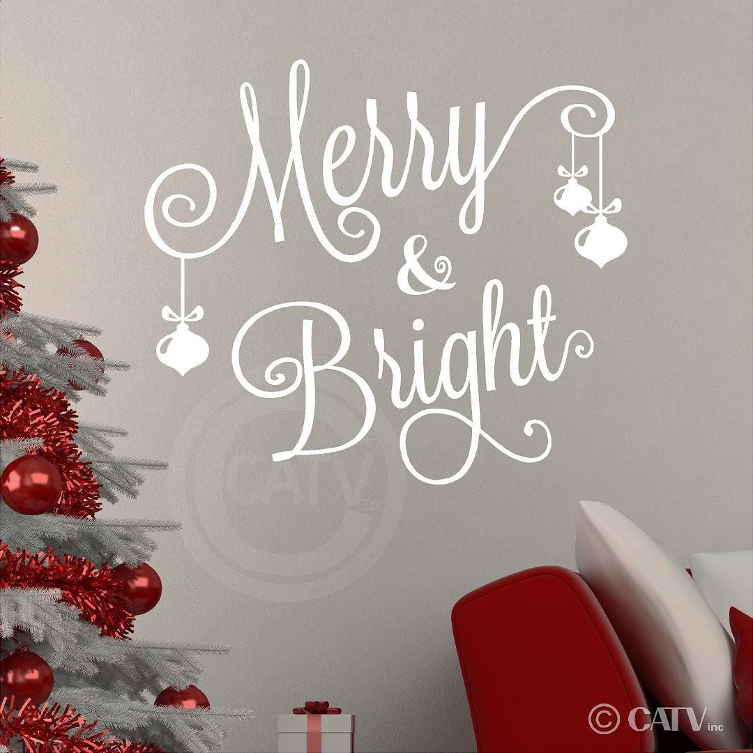 merry bright all cursive with 3 ornaments christmas vinyl zoom